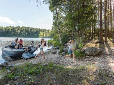 Camping by boat in summer